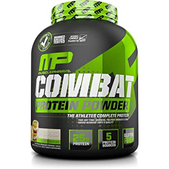 MusclePharm Combat Protein Powder, 5 Protein Blend, Cookies 'N' Cream, 4 Pounds, 52 Servings