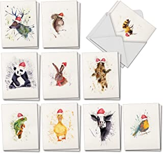 Wildlife Expressions - 20 Watercolor Blank Christmas Cards with Envelopes (4 x 5.12 Inch) - Assorted Zoo, Farm Animal Paintings in Xmas Santa Hats (10 Designs, 2 Cards Each) AM2973XSB-B2x10