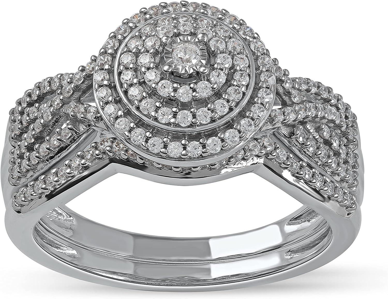 10k Gold 3 8 Ct TDW Diamond Set I2 Halo for Bridal I-J Max 66% OFF Charlotte Mall Women