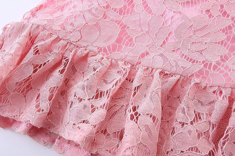 LittleSpring Girls Lace Dress Hollow Floral Wedding Party Dress