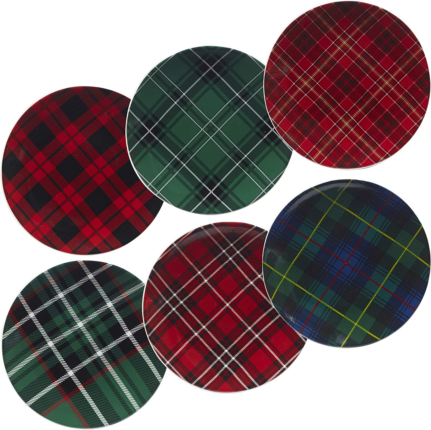 Certified International 22926SET6 Christmas Plaid 8.25  Salad Dessert Plate, Set of 6 Assorted Designs, One Size, Mulicolord