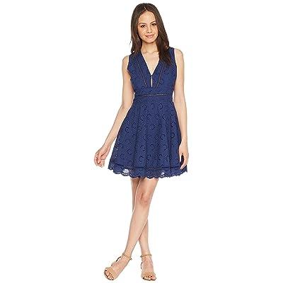 BB Dakota Vianne V-Neck Eyelet Dress (Vintage Blue) Women