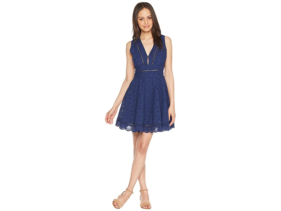 BB Dakota Vianne V-Neck Eyelet Dress (Vintage Blue) Women