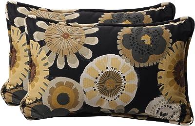 "Pillow Perfect Outdoor/Indoor Crosby Ebony Lumbar Pillows, 11.5"" x 18.5"", Black, 2 Pack"