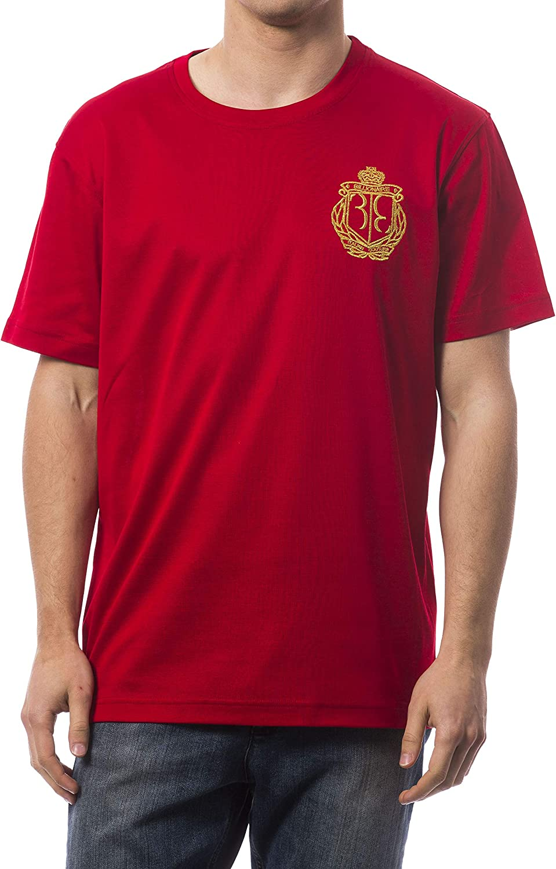 Billionaire Couture Men's Red Short Sleeve T-Shirt V Neck with logo emblem (XXL)