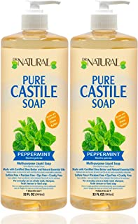 Dr. Natural, Pure Castile Liquid Soap, (Peppermint, 32 Ounce 2-pack) Ultra-moisturizing Body Wash, Shampoo, Facial Cleanse...
