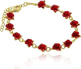 Cute Red Rose Flower Charm Bracelet for Women Girls 18K Gold Plated Nature Jewelry, Dozen Roses Bracelets Y452