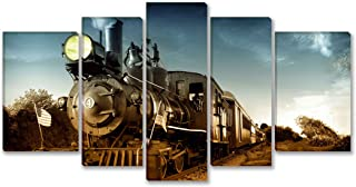 SmartWallArt - Traffic Tools Series Wall Art Framed 5 Panels Painting Vintage Steam Engine Locomotive Train Moving Down Railroad Track Towards Camera Picture for Modern Home Decoration