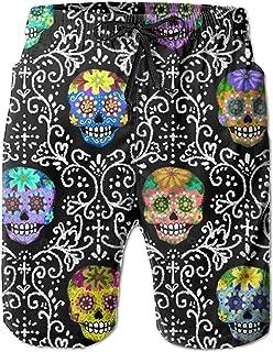 Flores Sugar-Skulls Hombres ultraligeros Surf de Verano Bañadores de Secado rápido Pantalones Cortos Pantalones de Playa c...