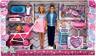 Simba- Love Welcome Family (Steffi Ribbon, Kevin, Evi) with 9 Accessories, Colour, 105733426