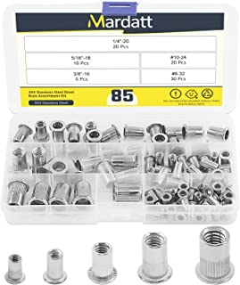 Mardatt 180Pcs SAE 304 Stainless Steel Rivnut Rivet Nut Assortment Kit Flat Head Threaded UNC Rivetnut Kit Insert Nutsert #8-32#10-24 1//4-20 5//16-18 3//8-16