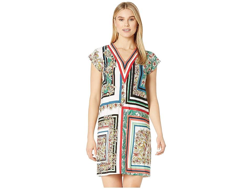 London Times Matte Jersey V-Neck Shift Dress (Soft White/Multi) Women