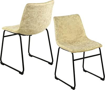 LSSBOUGHT Vintage Dining Chairs with PU Leather, Set of 2, Cream