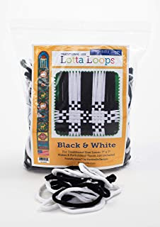 Harrisville Designs Friendly Loom Lotta Loops 7 Inch Standard Size Cotton Make 8 Potholders, Weaving, Crafts For Kids and Adults-Black & White