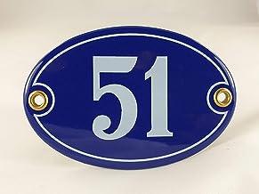 Emaille huisnummer bord nr. 51, ovaal, blauw-wit Nr. 51 Blau-Weiß + Schrauben und Dübel