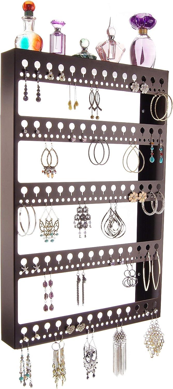 Angelynn's Large Earring Holder Organizer Wall Hanging Closet Jewelry Storage Floating Shelf, Nichole Rubbed Bronze