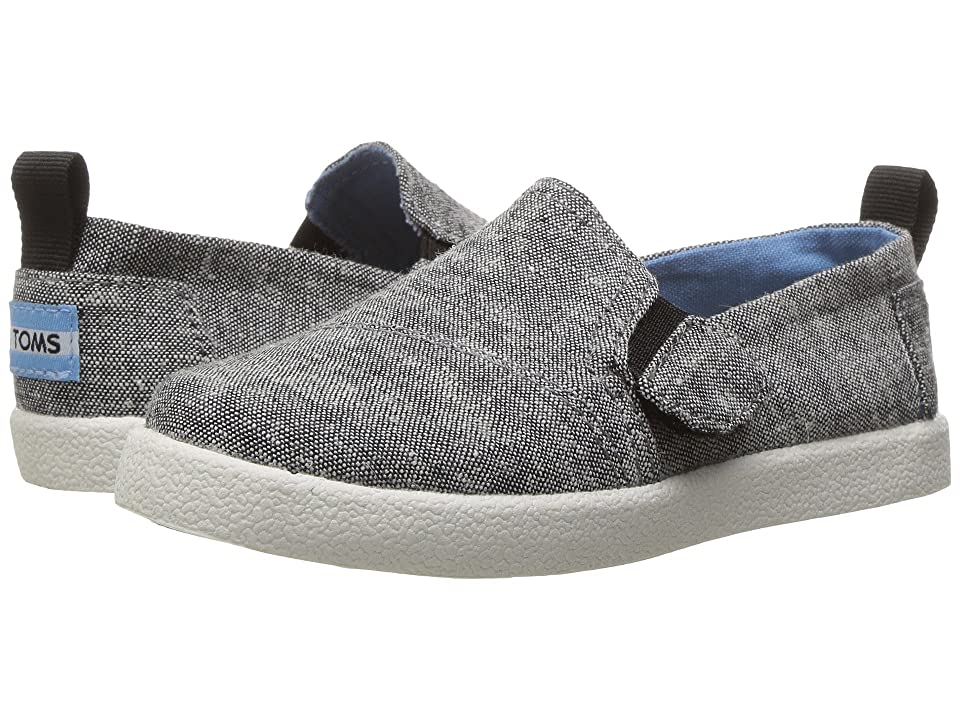 TOMS Kids Avalon Slip-On (Infant/Toddler/Little Kid) (Black Slub Chambray) Kids Shoes