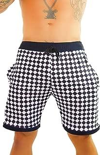 Mens Checkerboard Athletic Rave Shorts - Checker Gym Festival Clothing Fashion