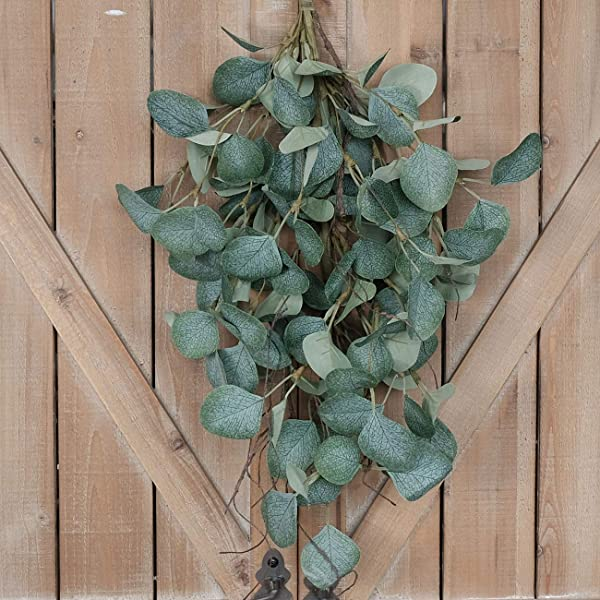 Idyllic Eucalyptus Leaf Stems For Door Decor Metal Polyester Fabric Paper Green Branches 24 Inches