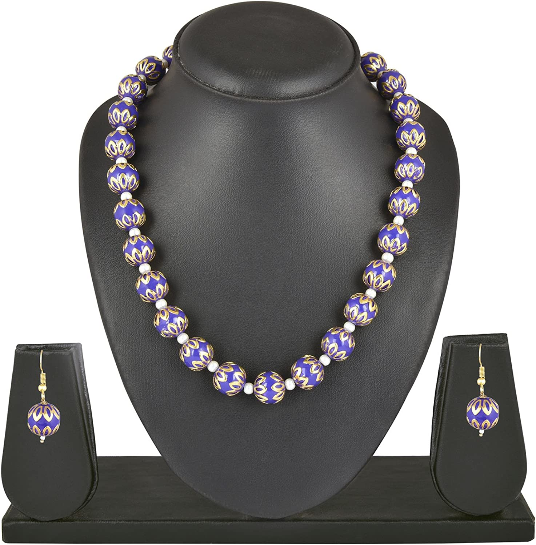 Efulgenz Indian Bollywood Ethnic Purple Traditional Necklace Set Jewelry for Women