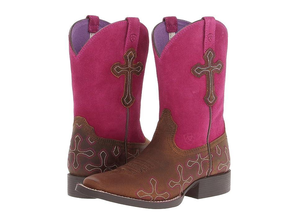Ariat Kids Crossroads Distressed (Toddler/Little Kid/Big Kid) (Brown/Fuchsia) Cowboy Boots