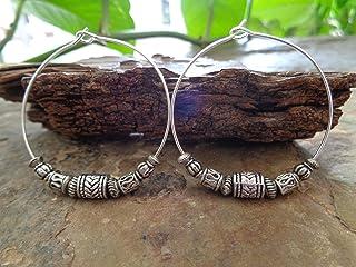 ✿ TIBET PLATA BOHO TRIBAL CREOL ✿ Pendientes de estilo Bali