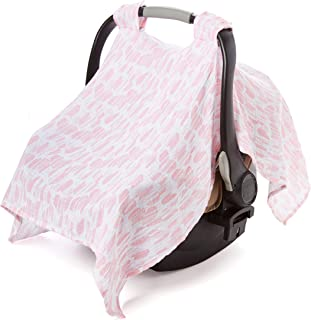 Aden by aden + anais Car Seat Canopy 100% Cotton Muslin, Briar Rose - Washed Heart