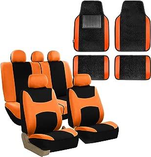 FH Group FB030115 Light & Breezy Cloth Seat Cover Set Airbag & Split Ready with Premium Carpet Floor Mats Orange/Black- Fit Most Car, Truck, SUV, or Van
