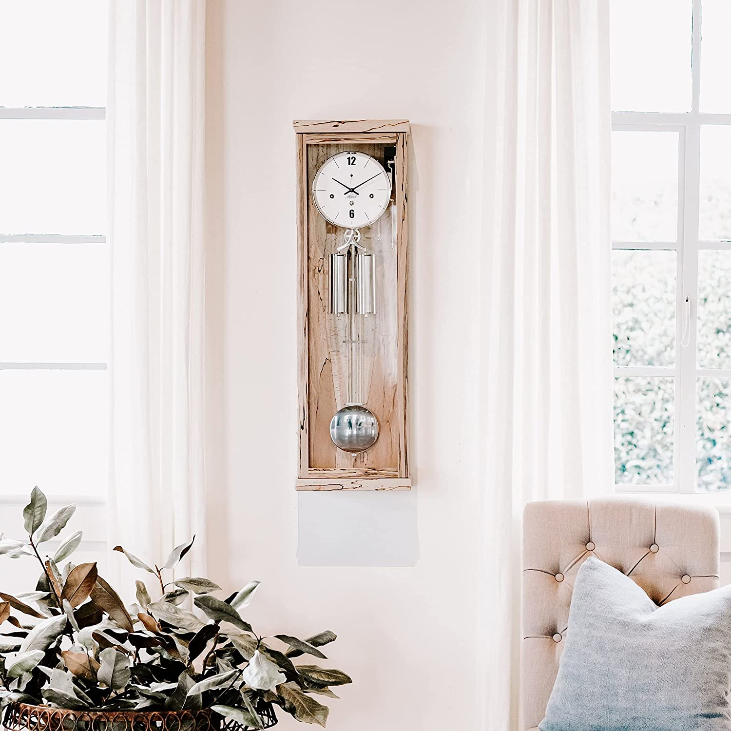 Hermle Max 90% OFF Abbot Contemporary Wall Clock in Finish Beech Free Shipping New Ice