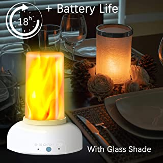 LED Flame Torch Table Lamp - Gift Package Rechargeable Modern Cracked Style Glass Table Lamps for Living Room, Bedroom, Night Table (Includes Timer & Remote)