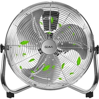 OZAVO Ventilador de Suelo 50CM, Power Fan, Metálico Máquina de Viento Ventilador Sobremesa, Circulador de Aire, 3 Niveles de Potencia, 80W, Inclinación de 100 Grados ...