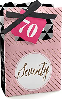 Chic 70th Birthday - Pink, Black and Gold - Party Favor Boxes - Set of 12