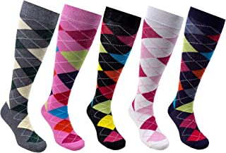 Women 5-Pairs Luxury Cotton Colorful Cool Fun Knee high Socks