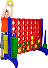 Giant 4 in a Row Connect Game – 4 Feet Wide by 3.5 Feet Tall Oversized Floor Activity for Kids and Adults – Jumbo Sized for Outdoor and Indoor Play - by Giantville, Blue/Red