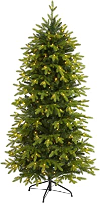 """6ft. Belgium Fir """"Natural Look"""" Artificial Christmas Tree with 300 Clear LED Lights"""
