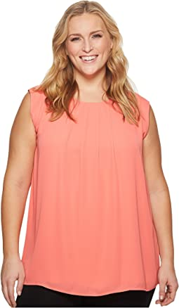 Vince Camuto Specialty Size Plus Size Sleeveless Pleat Neck Blouse