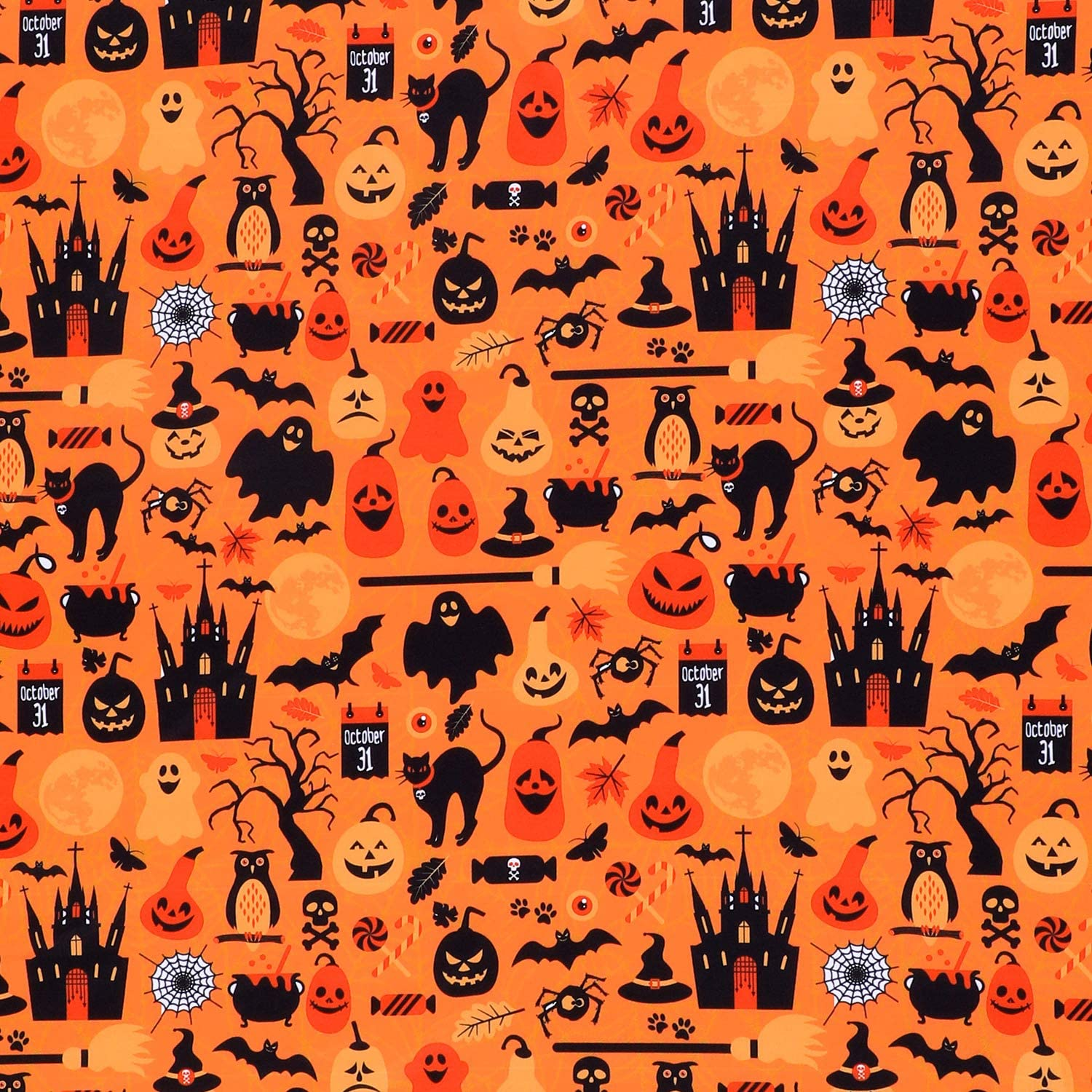Halloween Fabric 1 Yard Ghost Pumpkin Cats Pattern Halloween Orange Printed Fabric for Sewing Quilting Apparel Crafts Home Decor Supplies (1 Pieces)