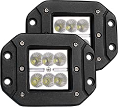 Turbo 2pcs Flood 3x3 Dually Flush Mount Led Light Lamps Dually D2 Off Road Back Up Reverse lights for 4x4 4wd Jeep Truck F150 F250 F350 Toyota Tacoma Honda Dodge Ram Chevy Silverado Front /Rear Bumper