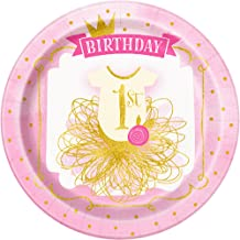 Unique Party Pink/Gold 1st Birthday Paper Plates (Pack of 8) (UK Size: One Size) (Pink/Gold)