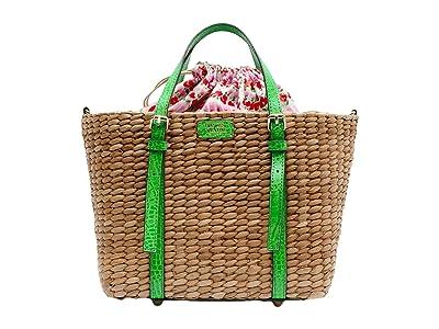 Frances Valentine Small Woven Basket Tote (Natural/Green) Shoulder Handbags
