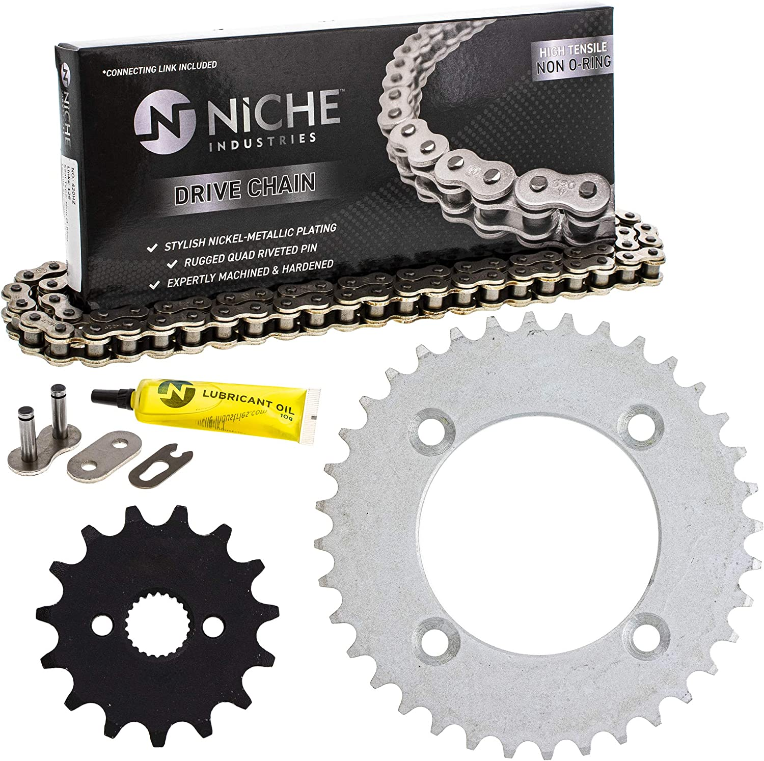NICHE Drive Sprocket Manufacturer regenerated product Chain Combo 4 years warranty for Front XR70R CRF70 Honda 15