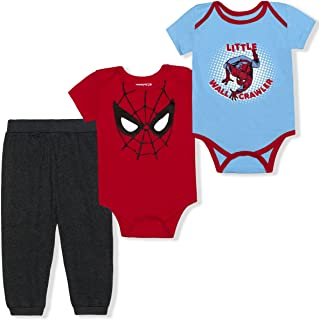 Avengers Spiderman 3 Pack Jogger and Creepers Set for Boys, Bodysuit Bundle for Baby