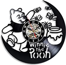 Levescale - Winnie The Pooh Vinyl Wall Clock - Vintage Style for Girl, boy - Decoration for Bedroom, Kids Room - Boo to You Too - Tigger's Honey Hunt - Poo Bear - Day for Eeyore