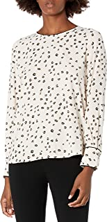 Amazon Brand - Lark & Ro Women's Crepe de Chine Long Sleeve Contrast Piping Detail Blouse
