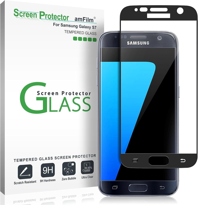 amFilm Protector Pantalla para Galaxy S7, Cobertura Total Cristal Vidrio Templado Protector de Pantalla para Samsung Galaxy S7 (Negro): Amazon.es: Electrónica