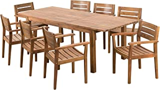 Christopher Knight Home William Outdoor 9 Piece Teak Finished Acacia Wood Dining Set with Expandable Dining Table