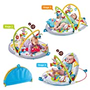 Yookidoo Baby Play Gym Lay to Sit-Up Play Mat. 3-in-1 Infant Activity Center for Newborns. 0 - 12 Month