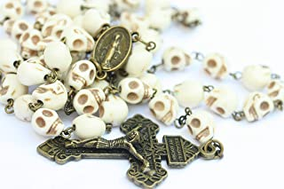 Large Day of the Dead Morta' Stone Skull 10mm 5 Decade Natural Stone Bead Rosary Made in Oklahoma