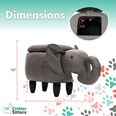 """CRITTER SITTERS Dark 15"""" Seat Height Animal Gray Elephant-Faux Leather Look-Durable Legs-Storage for Nursery, Bedroom, Pl"""