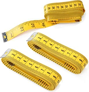 Cren 3pcs 300cm/120 Inch Yellow Soft Tape Medical Body Measurement Sewing Tailor Ruler, Also Has Centimetre Scale on Reverse Side
